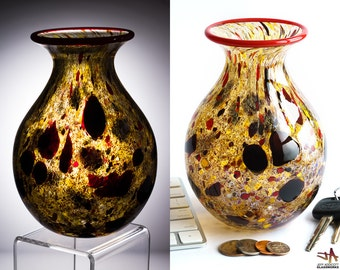 Hand Blown Art Glass Vase - Speckled Earth Tones with Red Dots