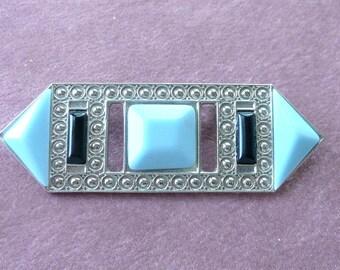 Art Deco Brooch Blue & Silver Retro Fun