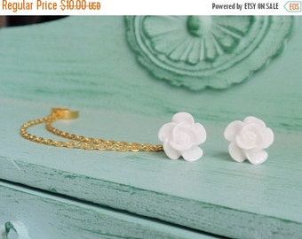 SALE Pure White Blossom Double Gold Chain Ear Cuff Earrings (Pair)