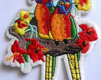 Parrots Iron on Embroidered Applique