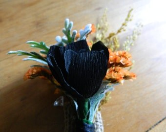 Rustic Wild Meadow boutonniere - Paper boutonniere - custom made