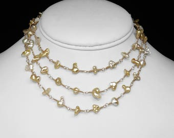 Golden South Sea Keshi Pearl Necklace in Gold, 40""