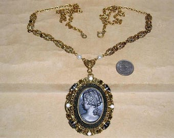 Vintage Signed West Germany Necklace With Faux Pearls Black Diamond Rhinestones And Glass Cameo 1950's Jewelry 10077