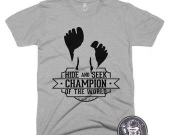 MEDIUM - SALE Hide and Seek Champion of the World T Shirt Funny Bigfoot Tshirt Vintage Camping Tee Shirt Mens Funny Tshirts Sasquatch Shirt