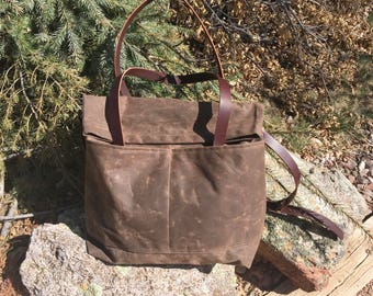 Waxed Canvas and Leather Fold Over Weekender- Travel Bag- Duffle Bag- Luggage- Weekend Bag