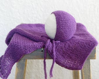 Purple Newborn Bonnet and Wrap Set Photo Prop, Knit Baby Hat/Wrap READY TO SHIP