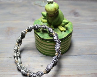 Bracelet, beaded bracelet, paper beads, jewelry, quilling, black and white, large