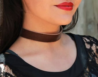 Brown Velvet Choker Necklace Handmade