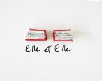 Red Book Art - Elle et Elle (Her & Her) - Original Artwork, leather, urban chic, elegant, romantic, lesbian couple, love, 5x7, 13x18 cm