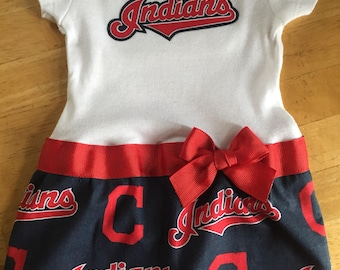 Cleveland Indians inspired baby girl outfit