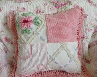 Decorative Throw Pillow Vintage Chenille Bedspread Farmhouse Shabby Chic by Shuggie's Attic