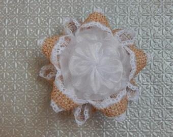 Burlap and White Lace Yo Yo Starflake Ornament