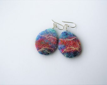 Wool earrings in colors of sunset- eco friendly- felted wool and silk earrings- dangle wool earrings- organic- statement- boho- felt jewelry