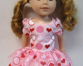 Pink Circle Hearts, Short Sleeved Dress for your 14.5 Inch Doll B