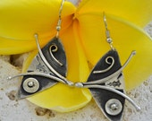 "Sterling silver earrings.  hand stamped, hand fabricated.  ""butterfly wings"""