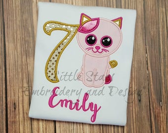 Beanie Boo Kitty Cat Birthday Shirt- Embroidered and Personalized Shirt - You choose Number for Shirt