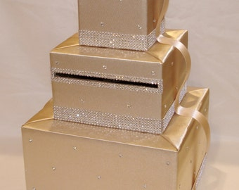 Champagne Card Box/Card Holder with lots of Bling