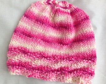 Rose and White Wool Handknit Hat/Cap. Warm Chemo Cap.One of a Kind.