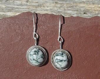 Green Tree Agate in Sterling Silver Earrings