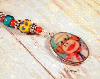 Sock Monkey Key Chain, Sock Monkey Key Fob, Fun Key Chain, Lampwork Beads Key Ring. Gift For Her,  Handmade Beaded Key Ring. CKDesigns.US