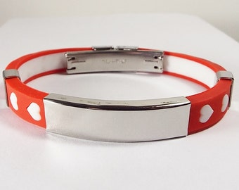 Personalized Jewelry Custom Engraved Red Silicone With White Hearts Rubber and Stainless Steel ID Bracelet 8 Inch Length  - Hand Engraved