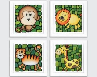 Jungle Animal Prints - Set of 4 - Zoo Animal Prints - Safari Nursery Theme - Lion - Monkey - Tiger - Giraffe - Nursery Decor - 8 x 10 inch