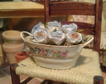 Miniature dollhouse shabby chic pot with roses
