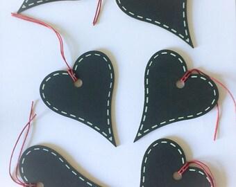 6 Wooden Chalkboard Tags, Heart Shaped Tags, Chalkboard Hearts, Heart Gift Tags, 7 x 8cm, wedding Favours, Folk art hearts, love tags