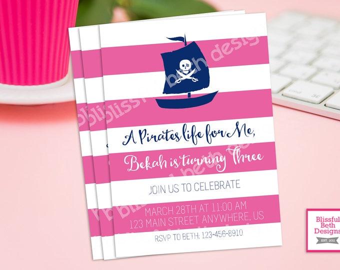 AHOY MATIE! Pink Pirate Birthday Invitation, Printable Girl Pirate Birthday Invitation, Personalized Pirate Invite, Girl Pirate, Ahoy Matie