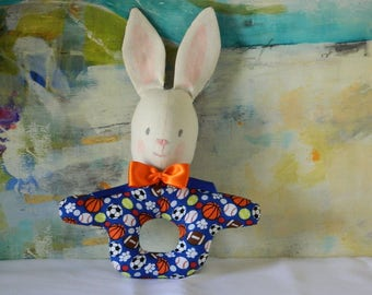 Easter Bunny Rattle - Baby's First Easter - Baby Shower Gift - Easter Basket Toy - Sports Theme - Blue Toy Rattle - Baby Noisemaker - Soft