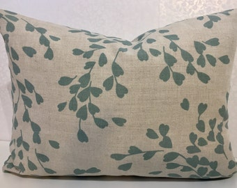 Turquoise leaf print, love heart design, teal LINEN pillow in designer fabric by ROMO, natural linen cover, teal DUCKEGG, Eau de nil cushion