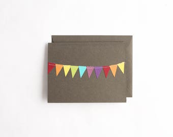Thank You Cards, Rainbow Stationary, Colorful Greeting Cards, BIrthday Card Pack, Bunting Flag Cards, Grey Stationery, Hand Cut Notecards