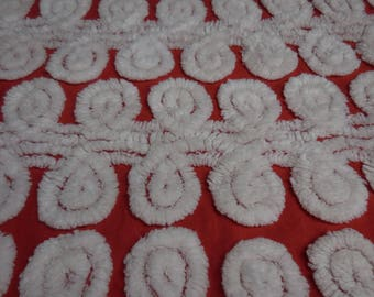 """RED with WHITE CURLIQUES Vintage Chenille Bedspread Fabric - White Curliques on Bright Red Chenille Fabric - 24"""" X 36"""""""