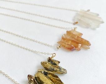 Crystal necklace, Gemstone bar necklace, Quartz necklace, row necklace, boho chic necklace, layering necklace, raw crystal, pyrite