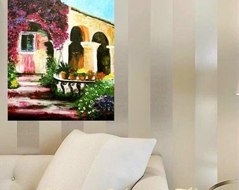 SALE Oil Landscape  painting Abstract Original Modern Spanish Villa  painting by Nicolette Vaughan Horner