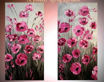 Original Two Panel Oil Pink Cherry Blossom Tree Abstract Original Modern palette knife impasto Oil painting by Nicolette Vaughan Horner