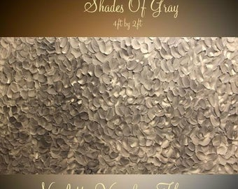 2DAY SALE XLarge Abstract painting,Original comtemporary Art,Shades Of Gray,lots of texture Ready to hang  by Nicolette Vaughan Horner 48x24