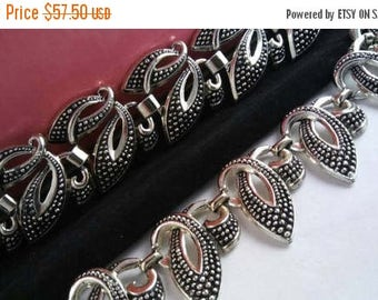 Now On Sale Vintage Demi Parure - Vintage Silver Tone Open Work Black Choker Necklace Wide Bracelet Set