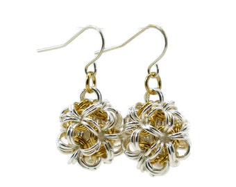 1/2 Inch Silver and Gold Dodecahedron Chainmaille Earrings, chainmail, chain mail, Chinese ball, Japanese ball