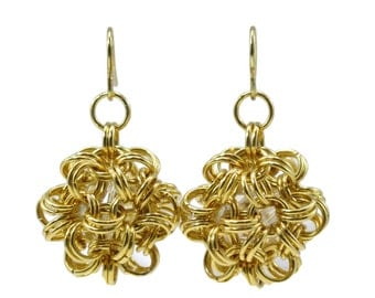3/4 Inch Gold Dodecahedron Chainmaille Earrings, chainmail, chain mail, Chinese ball, Japanese ball