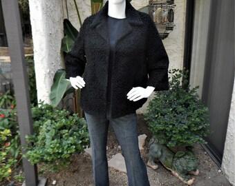 Vintage 1950's Black Faux Curly Lamb Wool Jacket - Size M/L