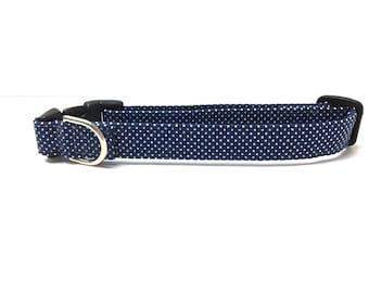 Naked Dog Collar- Navy Polka Dot