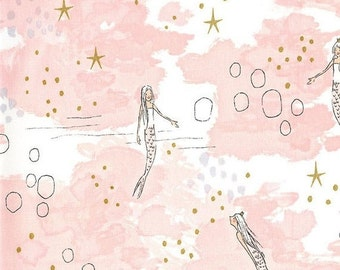 15% off thru 2/28 MERMAID MAGIC Michael Miller Fabrics quilters cotton fabric by the  yard White Mermaids on pink gold-MD7192-Blos