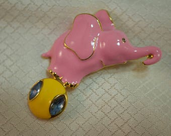 Pink Enameled Circus Elephant on Ball Fashion Brooch
