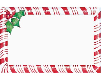 """50 Christmas """"Candy Cane"""" Print Florist Blank Enclosure Cards Small Tags Crafts (Free Shipping!)"""