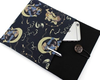 Kindle Paperwhite Cover, kimono Tablet Sleeve ereader Sleeve, Kindle Oasis case, Fujin Raijin Dark Navy