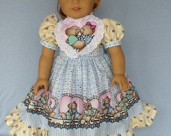 18 inch doll dress. Loves and Kisses by Daisy Kingdom. Fits American Girl dolls.