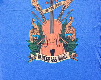 NEW bluegrass Old Time Songs tees on blue shirts - country music musical instruments banjo fiddle