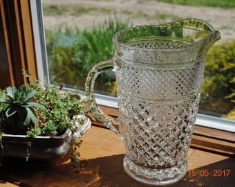 Anchor Hocking Clear Glass 64 ounce Pitcher in The Wexford Pattern