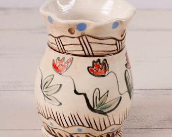 Hand Painted Vase, Flower Vase, Bud Vase, Wheel Thrown Vase, Handmade Vase, Wheel Thrown Pottery, Floral Vase, Stoneware Jar, Handmade Vase